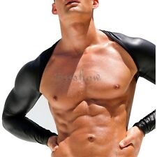 Sexy Men Faux Leather Mesh Hollow Arm Long Sleeve Shrug PU T-Shirt DJ Clubwear L