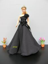 Black Gown Evening Party Outfit Handmade Costumes for Barbie Dress up Dolls, 3+y