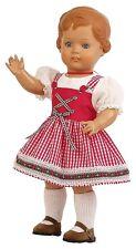 Schildkrötpuppe Erika, 46 cm, im rot-weiß karierten Dirndl