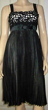 COCOSA Black Pearl Pleated Lined Empire Sleeveless Cocktail Dress Size 8
