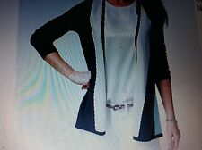 NWT Womens Charter Club Luxury Colorblocked 100% Cashmere Open-Front Cardigan L