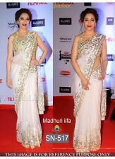 PARTY WEAR DESIGNER BOLLYWOOD REPLICA BRIDAL WHITE NET EMBROIDERY SAREE - 671