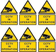 6x CCTV in operation warning sign sticker, yellow, medium A5 size 150x210mm