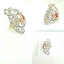 Royal Luxury 18k Gold Plated Diamante Crystal Pink Ruby Wedding/Bridal Ring CZ 7