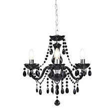 Shabby Chic 3 Light Fitting Ceiling Chandelier Black Crystal Marie Therese