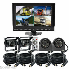 "9"" Quad Monitor + 4x Metal 4Pin Reversing CCD Camera Rearview Kit Truck Tractor"