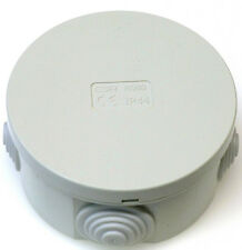 5x Junction Box Round Enclosure IP44 80 x 40mm Grommets Cable Connetion Box