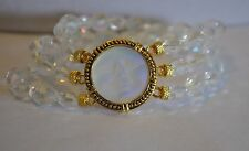 KIRKS FOLLY  LOVE NEVER DIES SEAVIEW MOON BEADED BRACELET IN GOLD TONE
