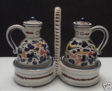 Deruta Italian Art Pottery Oil and Vinegar Servers with Matching Tray