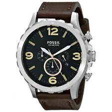 Fossil JR1475 Men's Nate Black Dial Brown Band Chrono Watch