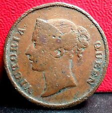 Very Nice Single Year 1862 One Cent British India Straits Settlements KM# 6