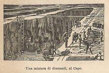A9915 Miniera di diamanti, al Capo - Xilografia - Stampa Antica 1906 - Engraving