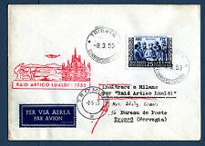 TRIESTE A - Raid Artico Lualdi (1953) su aer. affranc. con Martiri Belfiore - MR