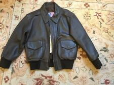 Pop`s Leather Bomber Jacket Brown Leather Coat Boys Size  Medium