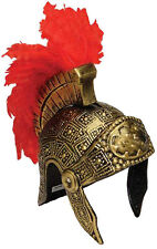 Lot Of 3 Roman Warrior Spartan Soldier Costume Helmet With Red Feather Crest