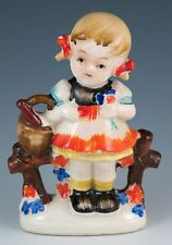 Vintage Ceramic Girl With Flowers & Basket Figurine Made In Occupied Japan