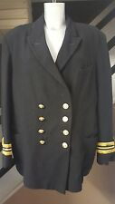 Vintage naval officer  military fancy dress double Breasted Black Jacket Size 44
