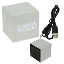 New Voice Control Cube USB/AAA LED Alarm Digital Desk Clock Thermometer Calendar
