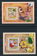 Burundi 2014 MNH Butterflies 4x Deluxe S/S Insects Flowers Fleurs Papillons