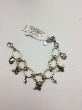 $39 Lucky Brand Silver & Gold Metals Rhinestones Multi 'Bee' Charms Bracelet