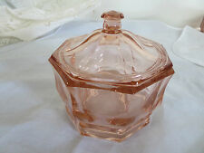 Vintage Pink Depression Glass Octagon Box Jar w/ Lid