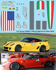 1/18  FERRARI 599XX 2010 MIAMI VALENCIA FOR HOTWHEELS DECALS TB DECAL TBD101