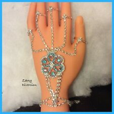 Fashion Slave Bracelet 5 Ring Cubic Zirconia Hand Chain Blue Pink Silver
