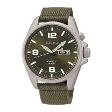 SEIKO MEN'S REGULAR 41MM GREEN NYLON BAND STEEL CASE KINETIC WATCH SMY141
