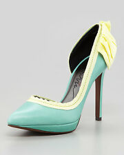 Lanvin Turquoise Blue d'Orsay Side-Bow Pumps Heel 39/US 9 NEW IN BOX $800