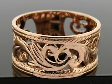 R001- WIDE Genuine 9ct SOLID Rose Gold Botanical Filigree Band Ring size Q