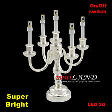 Candelabra 5arms Bright battery operated LED light LAMP Dollhouse mini Silver
