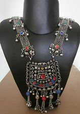 Long Boho Tribal Gypsy Necklace Crescent Moon Charm Afghan Belly Dance Jewellery