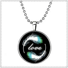 "Vogue Glow in the Dark""Love""Feather Cabochon Tibet Silver Glass Pendant Necklace"