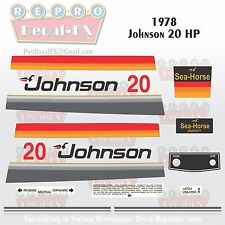 1978 Johnson 20HP Sea-Horse Outboard Reproduction 18 Pc Marine Vinyl Decals