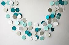 Teal White And Gray Paper Garland, Wedding Decoration, Bridal Shower, Birthday
