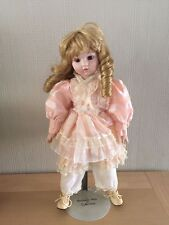 "The Heritage Mint Collection Vintage Porcelain Doll  16""  display stand 1988 VGC"
