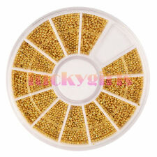 Gold Nail Art Beads Steel Balls Pearls Caviar UV Acrylic 3D DIY Decoration Tips