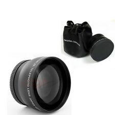 HD 58mm 2X telephoto Lens for Canon Nikon Panasonic Sony DSLR Camera Black
