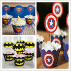 48Superman Captain America Batman Cupcake Wrappers&Toppers Party Decor Birthday