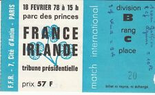 BILLET  MATCH RUGBY FRANCE / IRLANDE FEVRIER 1978