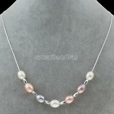 Charm Women Grade AA Freshwater Pearl 925 Sterling Silver Pearl Necklace Jewelry
