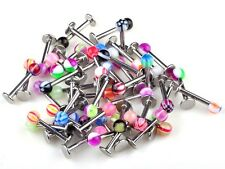 Lots 20pcMixed Steel Rainbow Bar Ball UV Top Labret  Lip Ring Barbell Piercing