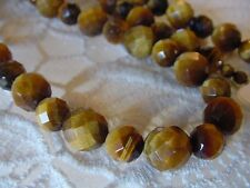 "(v310-D) 21"" long faceted tan Brown tiger's eye gemstone beaded Necklace JEWELRY"