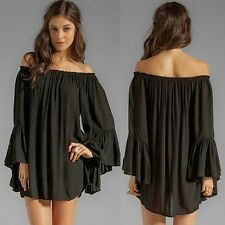 Fashion Boat Neck Off Shoulder Flutter Cuff Women Shirt Blouse Tops Pleats New M