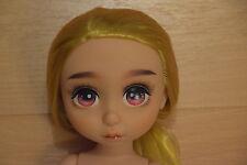 OOAK Disney Animator Rapunzel Repaint con amarillo color de cabello Doll muñeca nude!!!