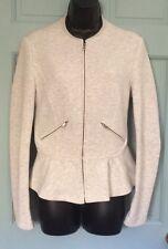 NWT New Zara Trafaluc Zip Up Jacket Sweater Women's Large Fall Coat Light Peplum