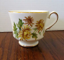 Duchess Enlgish fine bone china teacup -- yellow & gold flowers -- gold rim
