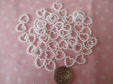50 Pearl Hearts White Embellishments 10mm Craft Scrapbooking Card Craft Supplies