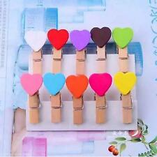 20 Stück Klammer Cute schöner Herz-Form Mini Holzklammer  Dekoration  Neu