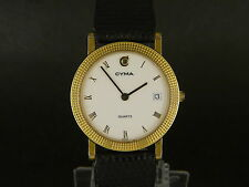 Swiss Cyma Roman hour dial quartz date Gold plated women calendar dressing watch